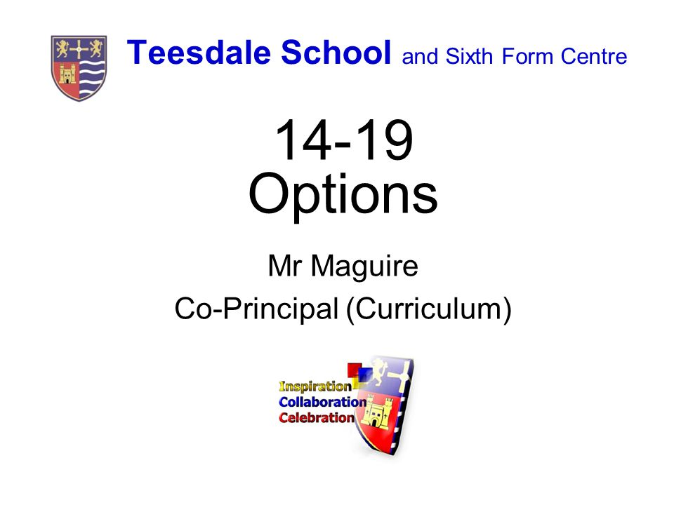 Teesdale School and Sixth Form Centre Options Mr Maguire Co-Principal (Curriculum)