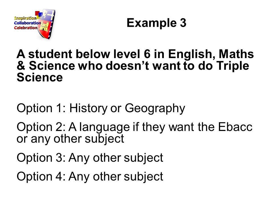 Example 3 A student below level 6 in English, Maths & Science who doesn't want to do Triple Science Option 1: History or Geography Option 2: A language if they want the Ebacc or any other subject Option 3: Any other subject Option 4: Any other subject