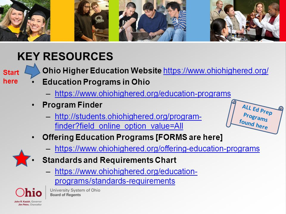 KEY RESOURCES Ohio Higher Education Website   Education Programs in Ohio –  Program Finder –  finder field_online_option_value=Allhttp://students.ohiohighered.org/program- finder field_online_option_value=All Offering Education Programs [FORMS are here] –  Standards and Requirements Chart –  programs/standards-requirementshttps://  programs/standards-requirements Start here ALL Ed Prep Programs found here