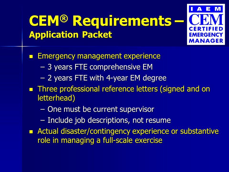 IAEM\'s CEM ® /AEM SM Overview IAEM\'s CEM ® /AEM SM Overview ...