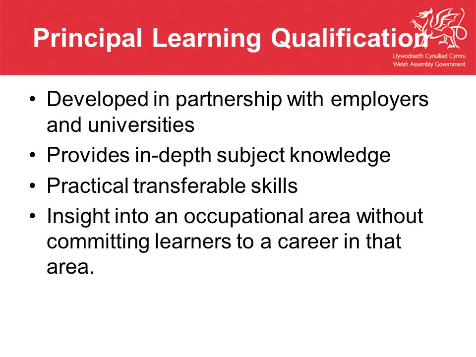 Principal Learning Qualification Developed in partnership with employers and universities Provides in-depth subject knowledge Practical transferable skills Insight into an occupational area without committing learners to a career in that area.