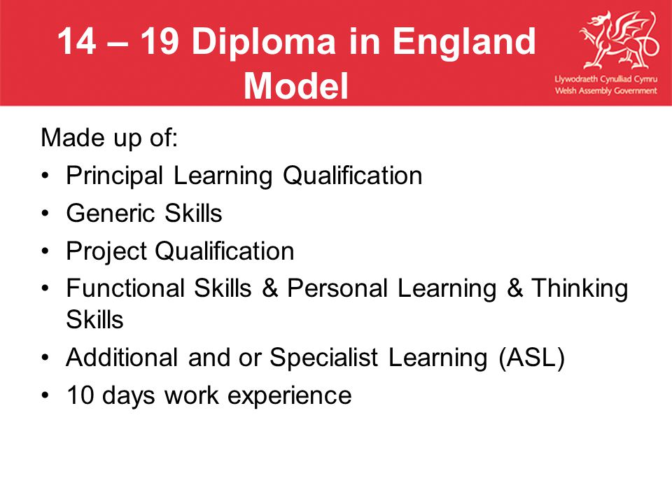 14 – 19 Diploma in England Model Made up of: Principal Learning Qualification Generic Skills Project Qualification Functional Skills & Personal Learning & Thinking Skills Additional and or Specialist Learning (ASL) 10 days work experience
