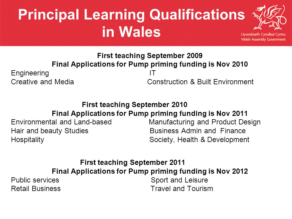 Principal Learning Qualifications in Wales First teaching September 2009 Final Applications for Pump priming funding is Nov 2010 Engineering IT Creative and Media Construction & Built Environment First teaching September 2010 Final Applications for Pump priming funding is Nov 2011 Environmental and Land-based Manufacturing and Product Design Hair and beauty Studies Business Admin and Finance Hospitality Society, Health & Development First teaching September 2011 Final Applications for Pump priming funding is Nov 2012 Public services Sport and Leisure Retail Business Travel and Tourism