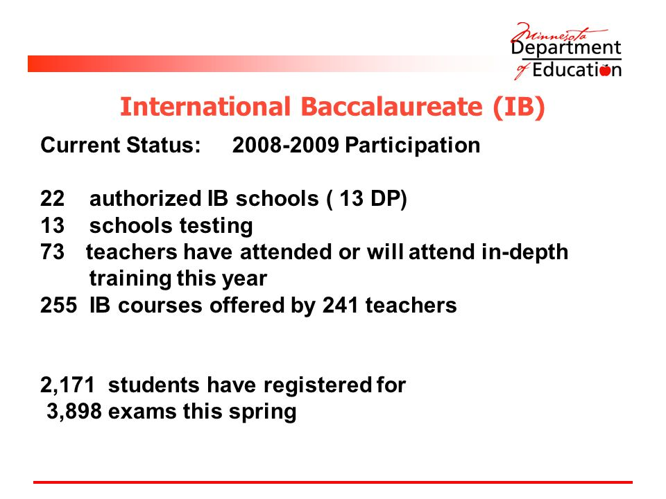 International Baccalaureate (IB) Current Status: Participation 22 authorized IB schools ( 13 DP) 13 schools testing 73 teachers have attended or will attend in-depth training this year 255 IB courses offered by 241 teachers 2,171 students have registered for 3,898 exams this spring