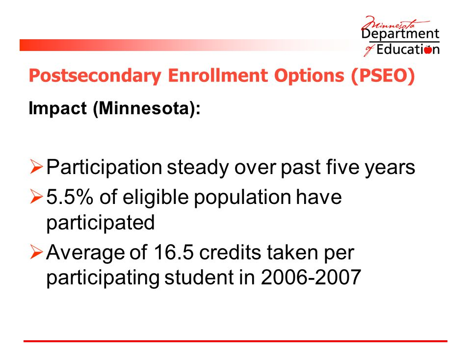Postsecondary Enrollment Options (PSEO) Impact (Minnesota):  Participation steady over past five years  5.5% of eligible population have participated  Average of 16.5 credits taken per participating student in