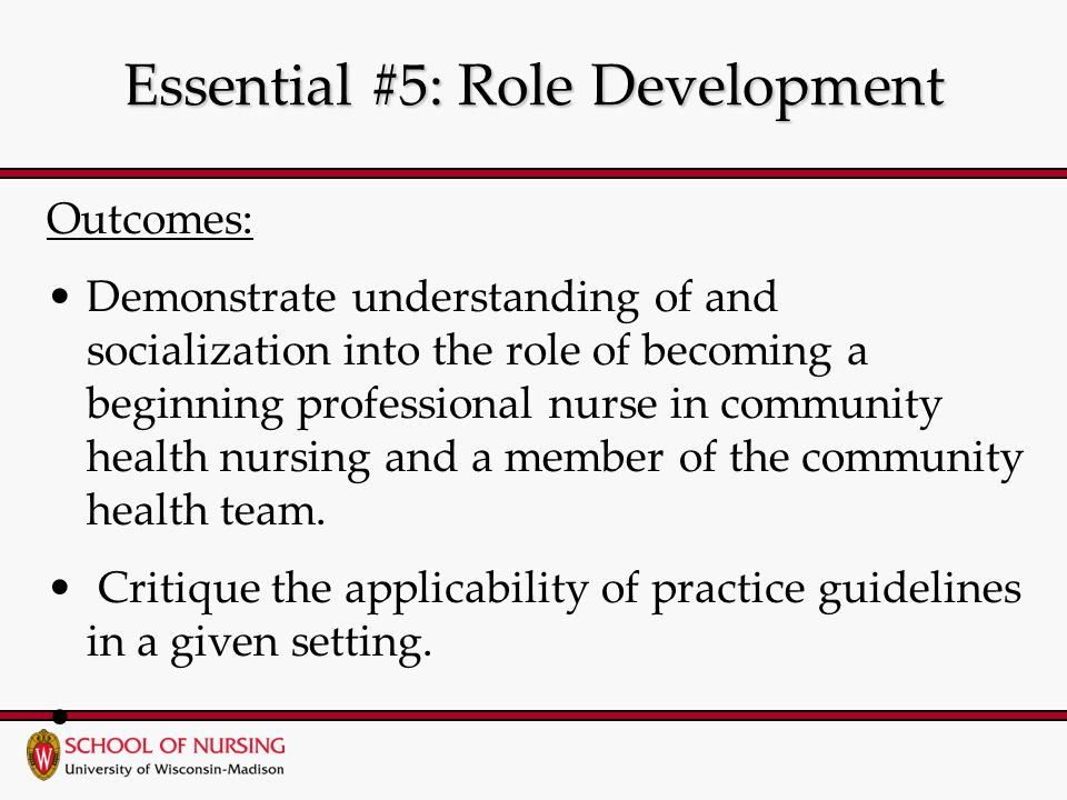 Essential #5: Role Development Outcomes: Demonstrate understanding of and socialization into the role of becoming a beginning professional nurse in community health nursing and a member of the community health team.