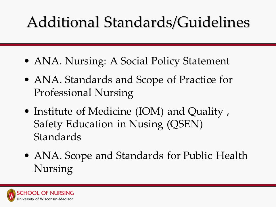 Additional Standards/Guidelines ANA. Nursing: A Social Policy Statement ANA.