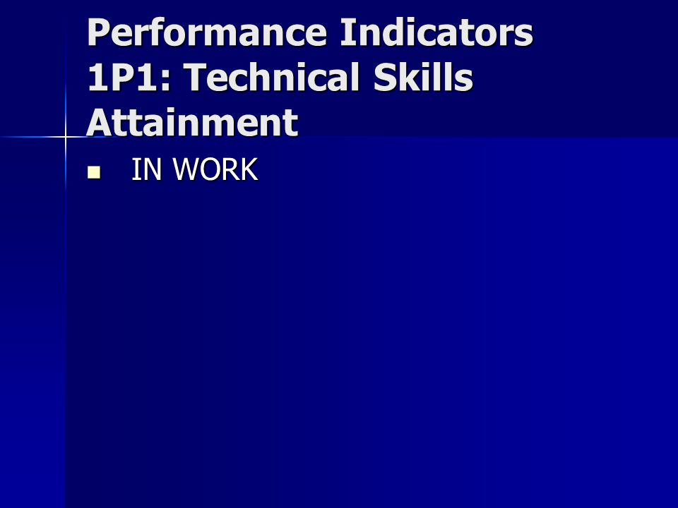 Performance Indicators 1P1: Technical Skills Attainment IN WORK IN WORK