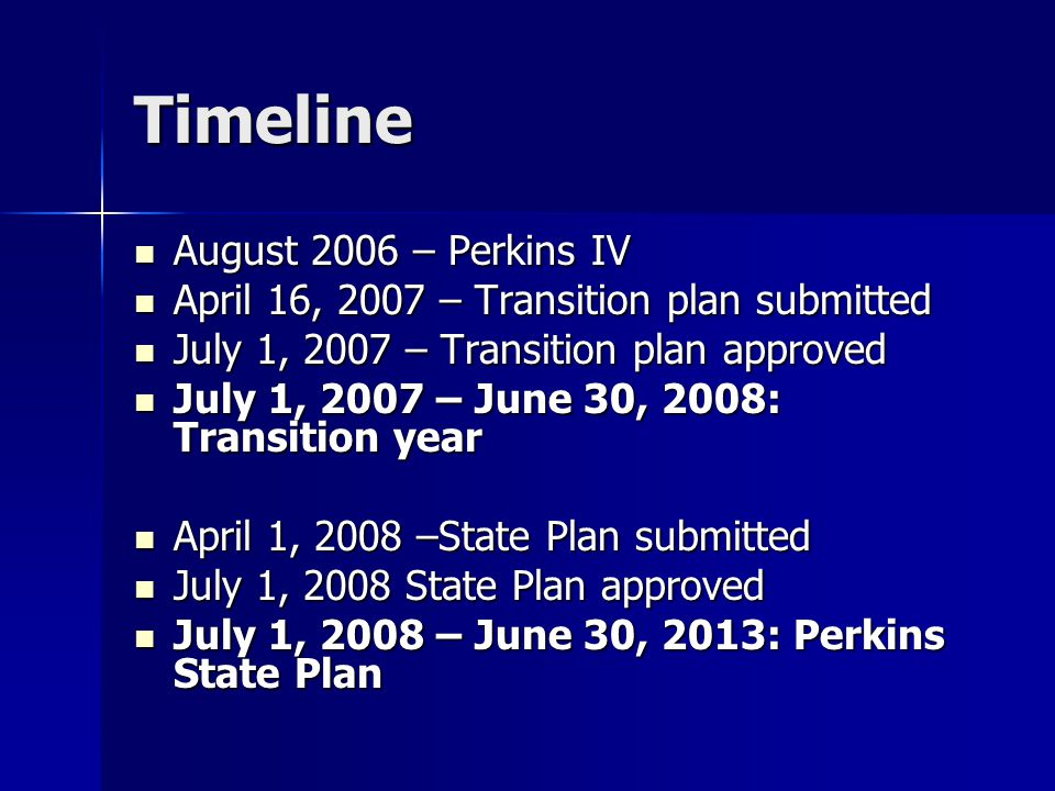 Timeline August 2006 – Perkins IV August 2006 – Perkins IV April 16, 2007 – Transition plan submitted April 16, 2007 – Transition plan submitted July 1, 2007 – Transition plan approved July 1, 2007 – Transition plan approved July 1, 2007 – June 30, 2008: Transition year July 1, 2007 – June 30, 2008: Transition year April 1, 2008 –State Plan submitted April 1, 2008 –State Plan submitted July 1, 2008 State Plan approved July 1, 2008 State Plan approved July 1, 2008 – June 30, 2013: Perkins State Plan July 1, 2008 – June 30, 2013: Perkins State Plan