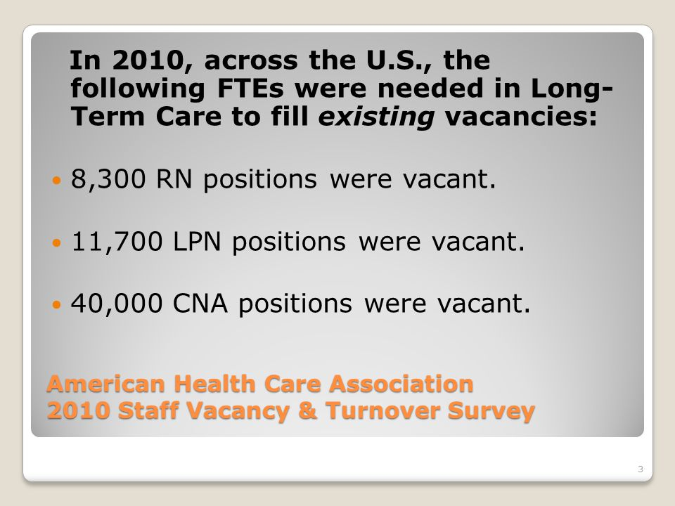 3 American Health Care Association 2010 Staff Vacancy & Turnover Survey In 2010, across the U.S., the following FTEs were needed in Long- Term Care to fill existing vacancies: 8,300 RN positions were vacant.