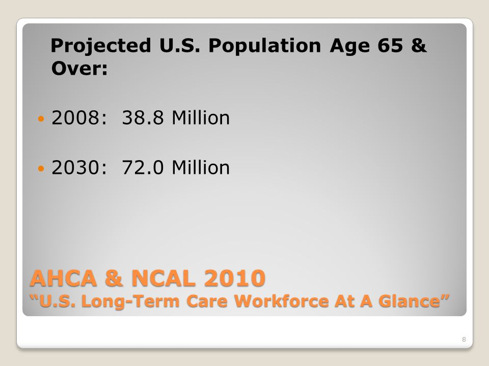 8 AHCA & NCAL 2010 U.S. Long-Term Care Workforce At A Glance Projected U.S.