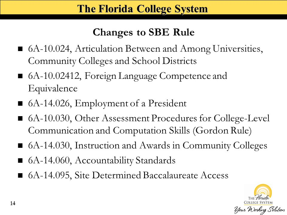 The Florida College System 6A , Articulation Between and Among Universities, Community Colleges and School Districts 6A , Foreign Language Competence and Equivalence 6A , Employment of a President 6A , Other Assessment Procedures for College-Level Communication and Computation Skills (Gordon Rule) 6A , Instruction and Awards in Community Colleges 6A , Accountability Standards 6A , Site Determined Baccalaureate Access Changes to SBE Rule 14