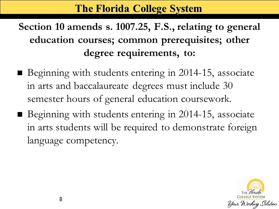 The Florida College System Section 10 amends s.