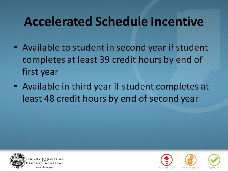 Accelerated Schedule Incentive Available to student in second year if student completes at least 39 credit hours by end of first year Available in third year if student completes at least 48 credit hours by end of second year