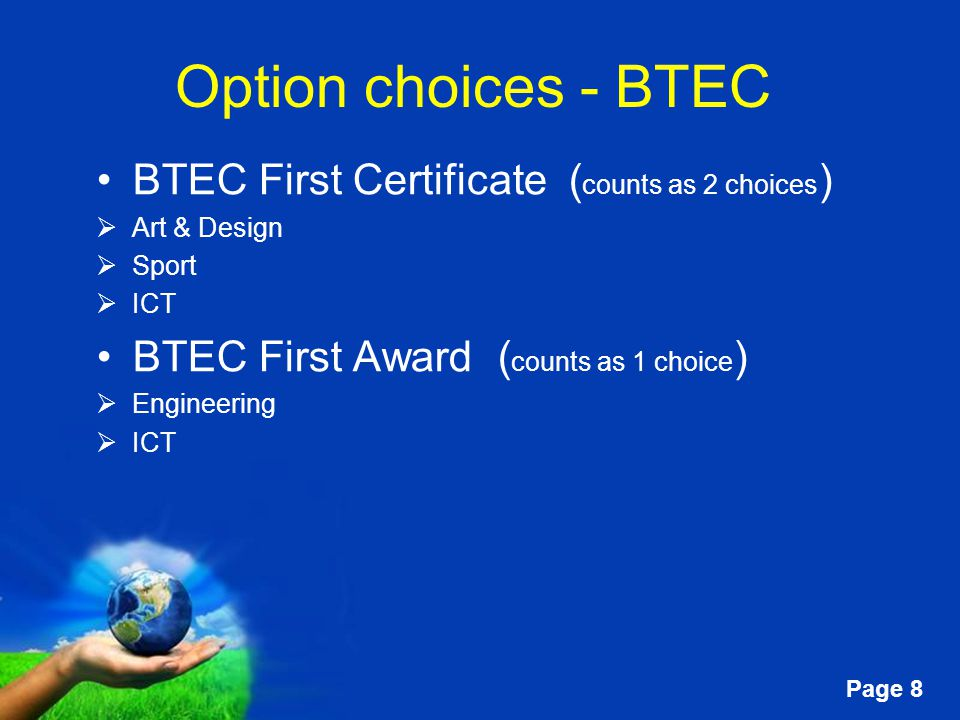 Free powerpoint templates page 1 toot hill school option information 8 free powerpoint templates page 8 option choices btec first certificate counts as 2 choices art design sport ict btec first award counts toneelgroepblik Image collections