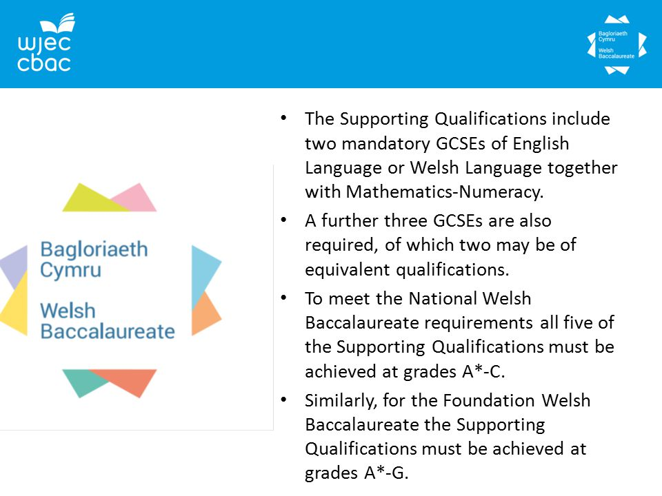 The Supporting Qualifications include two mandatory GCSEs of English Language or Welsh Language together with Mathematics-Numeracy.