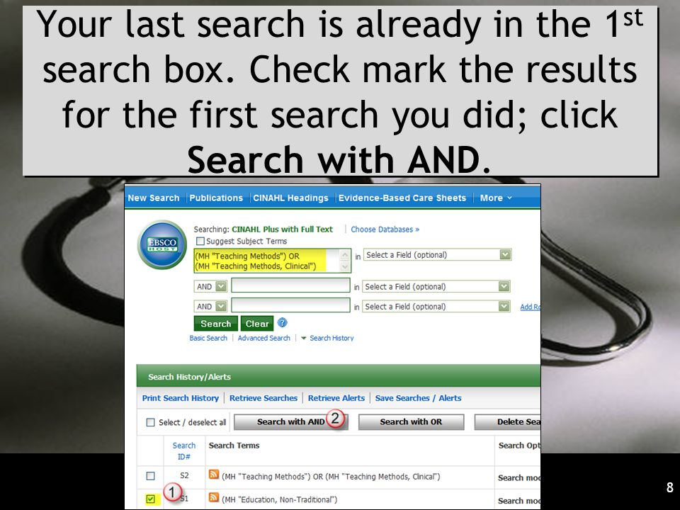Your last search is already in the 1 st search box.