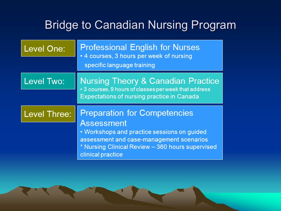 Bridge to Canadian Nursing Program Level Two: Level One: Nursing Theory & Canadian Practice 3 courses, 9 hours of classes per week that address Expectations of nursing practice in Canada Level Three: Preparation for Competencies Assessment Workshops and practice sessions on guided assessment and case-management scenarios * Nursing Clinical Review – 360 hours supervised clinical practice Professional English for Nurses 4 courses, 3 hours per week of nursing specific language training