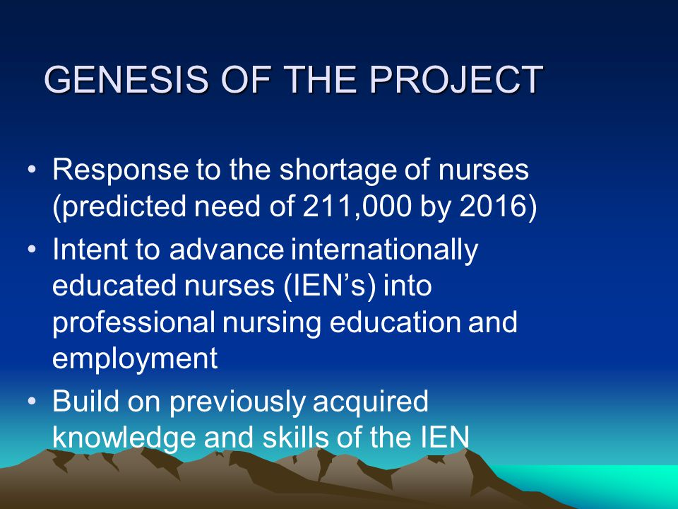 GENESIS OF THE PROJECT Response to the shortage of nurses (predicted need of 211,000 by 2016) Intent to advance internationally educated nurses (IEN's) into professional nursing education and employment Build on previously acquired knowledge and skills of the IEN
