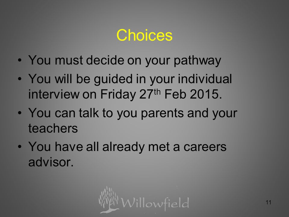 11 Choices You must decide on your pathway You will be guided in your individual interview on Friday 27 th Feb 2015.