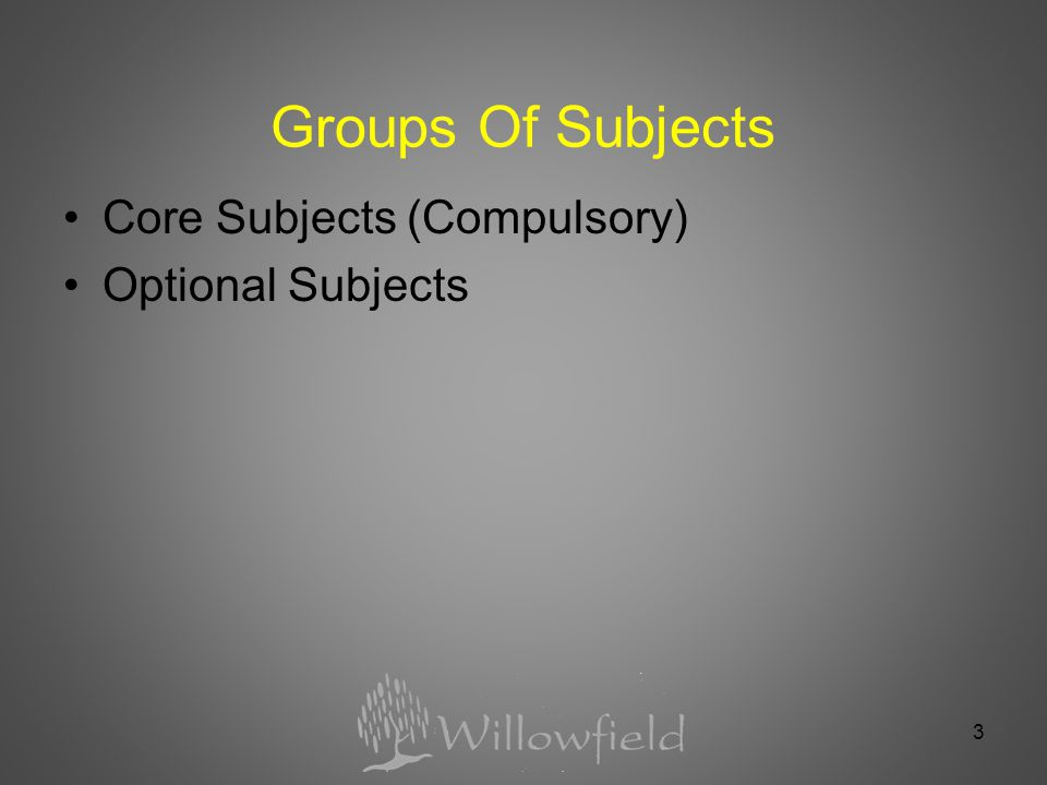 3 Groups Of Subjects Core Subjects (Compulsory) Optional Subjects