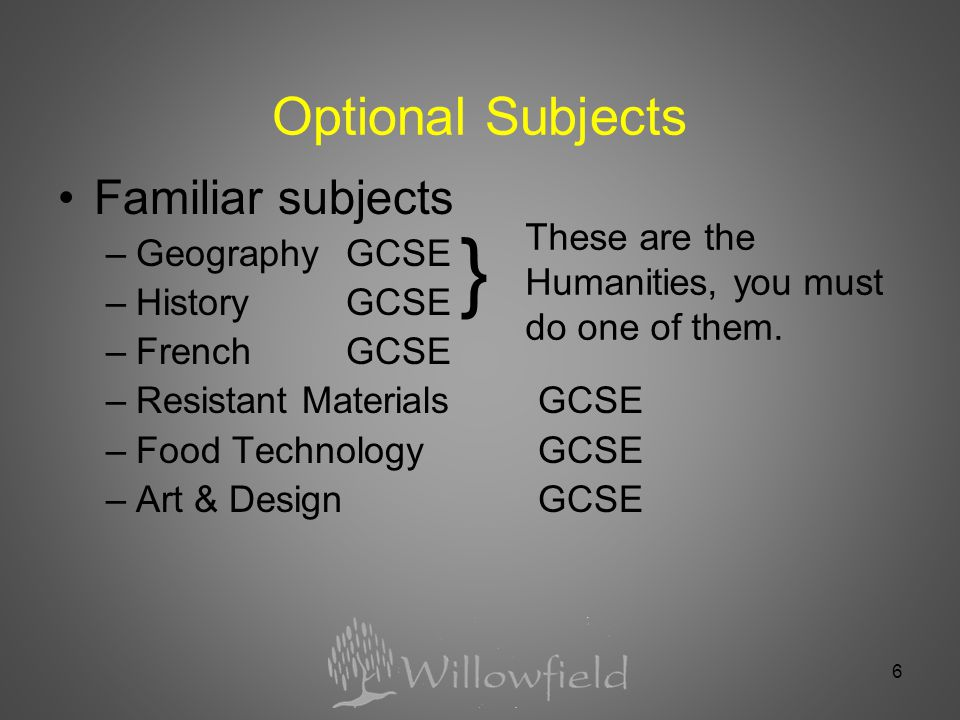 6 Optional Subjects Familiar subjects –Geography GCSE –HistoryGCSE –FrenchGCSE –Resistant MaterialsGCSE –Food TechnologyGCSE –Art & DesignGCSE These are the Humanities, you must do one of them.