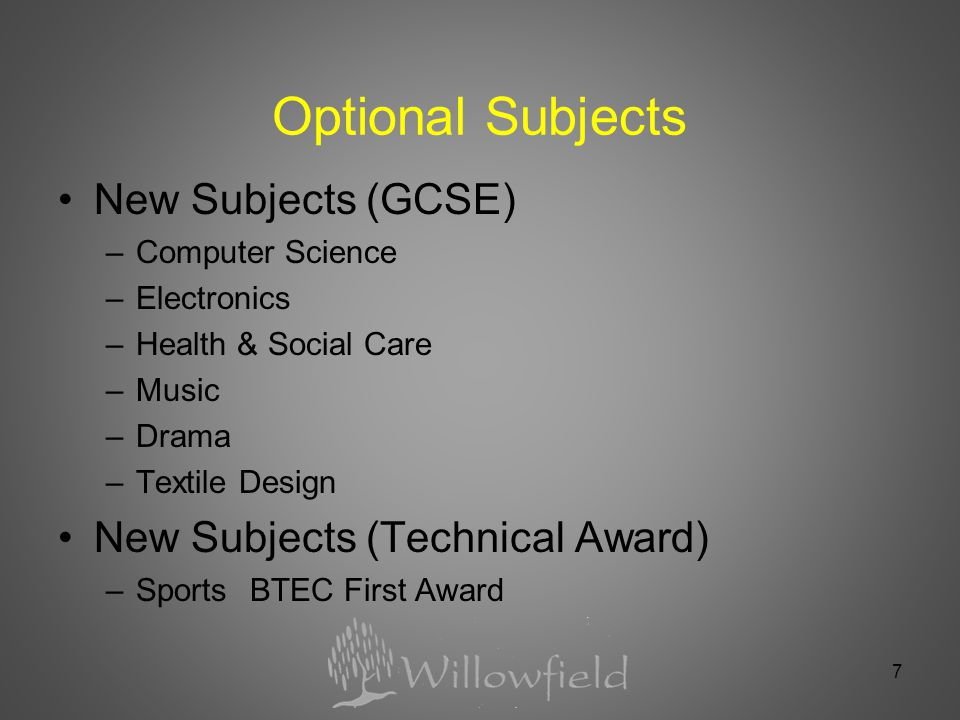 7 Optional Subjects New Subjects (GCSE) –Computer Science –Electronics –Health & Social Care –Music –Drama –Textile Design New Subjects (Technical Award) –Sports BTEC First Award