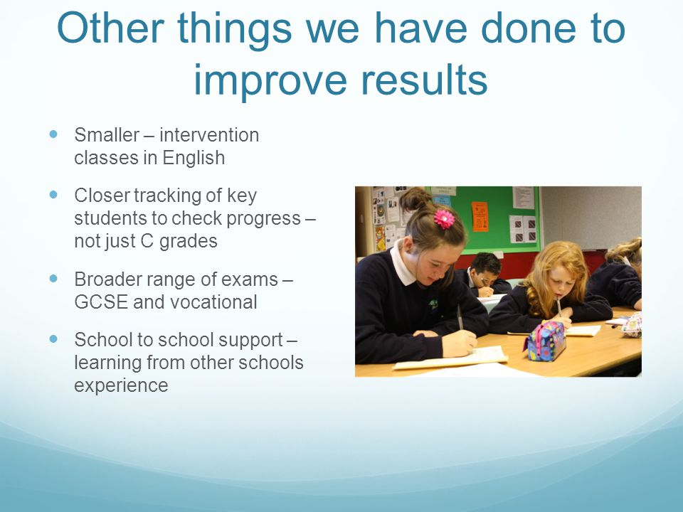 Other things we have done to improve results Smaller – intervention classes in English Closer tracking of key students to check progress – not just C grades Broader range of exams – GCSE and vocational School to school support – learning from other schools experience