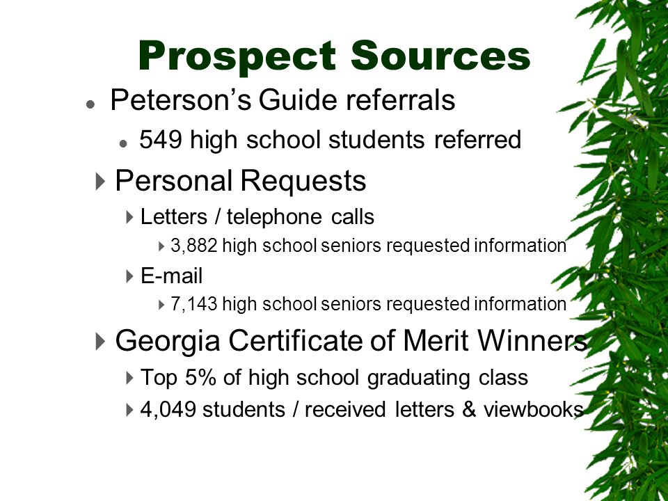 Prospects 88639 Applicants 8869 Accepted 5204 Enrolled 2231
