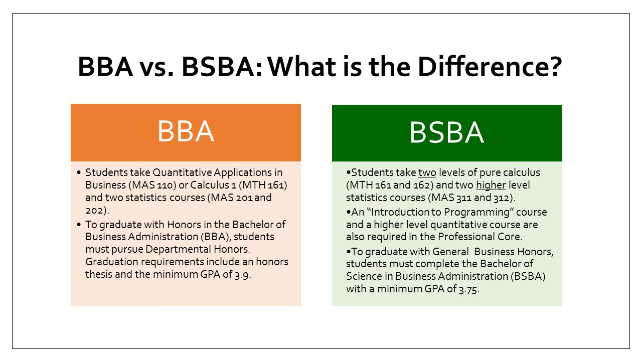 BBA vs. BSBA: What is the Difference.