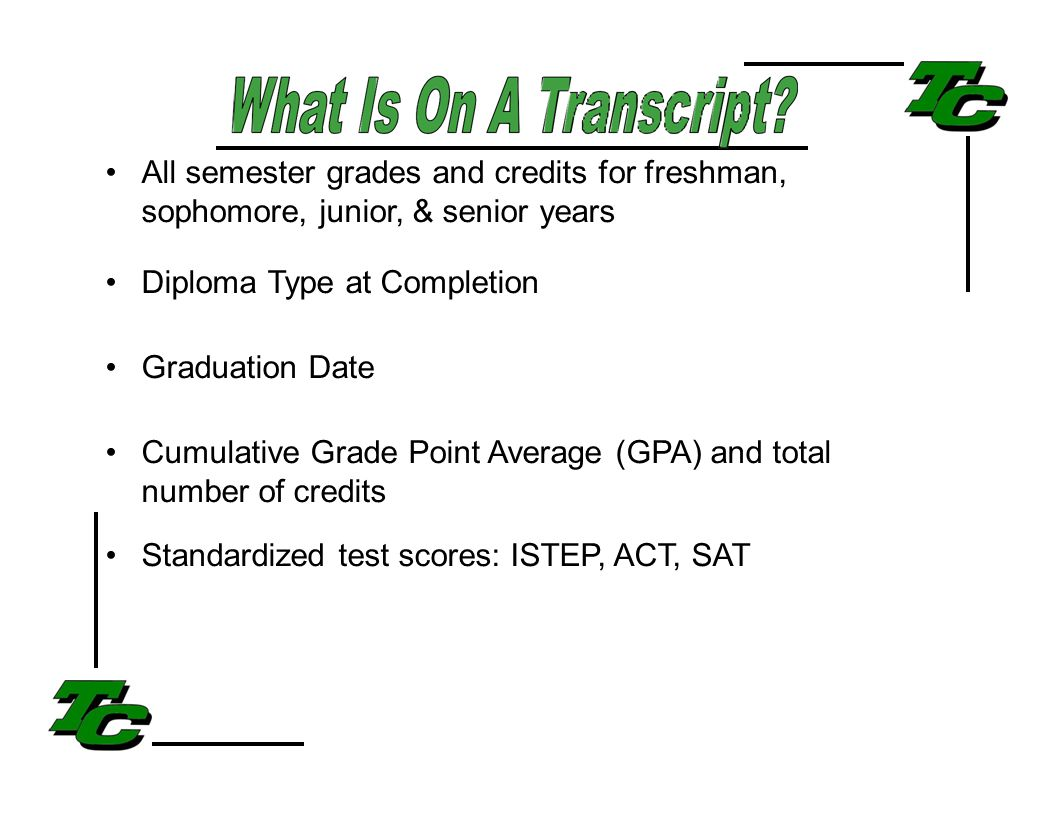 All semester grades and credits for freshman, sophomore, junior, & senior years Diploma Type at Completion Graduation Date Cumulative Grade Point Average (GPA) and total number of credits Standardized test scores: ISTEP, ACT, SAT