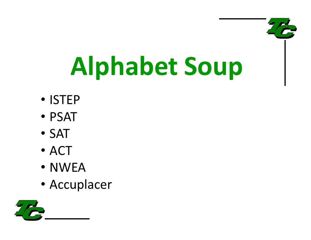Alphabet Soup ISTEP PSAT SAT ACT NWEA Accuplacer