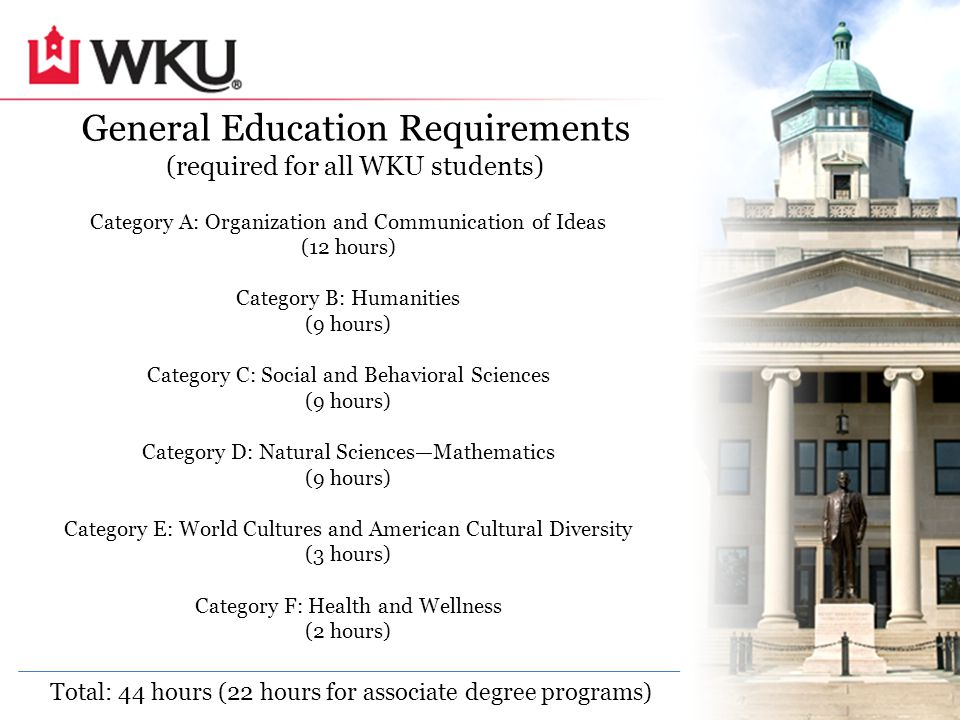 General Education Requirements (required for all WKU students) Category A: Organization and Communication of Ideas (12 hours) Category B: Humanities (9 hours) Category C: Social and Behavioral Sciences (9 hours) Category D: Natural Sciences—Mathematics (9 hours) Category E: World Cultures and American Cultural Diversity (3 hours) Category F: Health and Wellness (2 hours) Total: 44 hours (22 hours for associate degree programs)