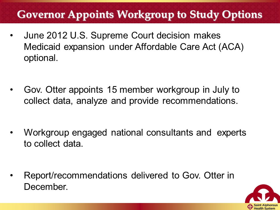 Governor Appoints Workgroup to Study Options June 2012 U.S.