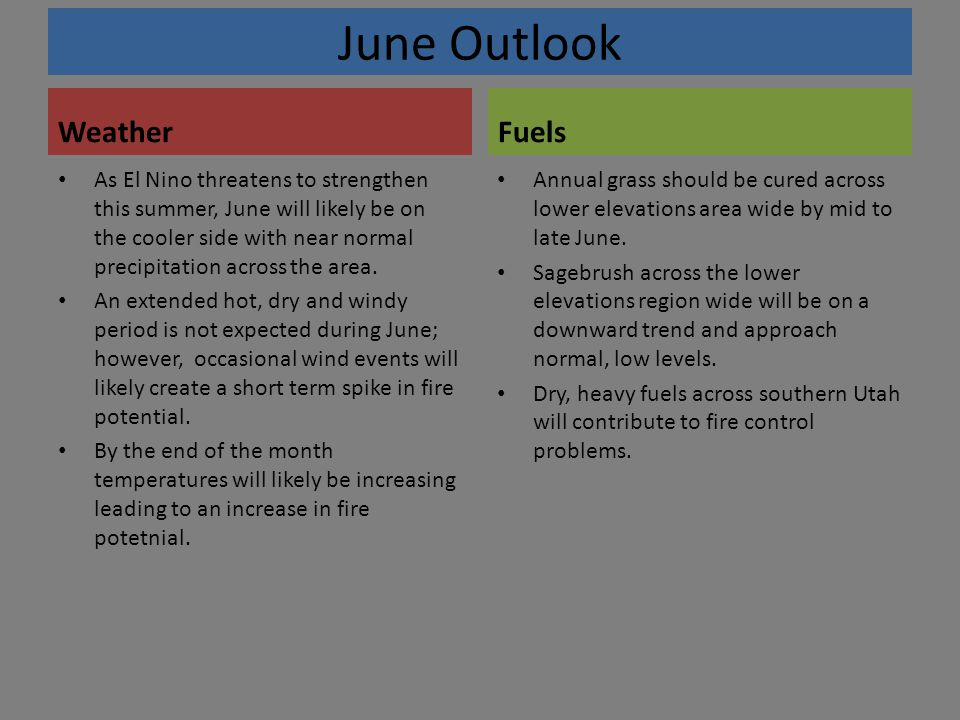 June Outlook Weather As El Nino threatens to strengthen this summer, June will likely be on the cooler side with near normal precipitation across the area.