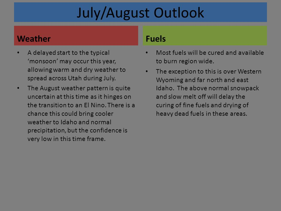 July/August Outlook Weather A delayed start to the typical 'monsoon' may occur this year, allowing warm and dry weather to spread across Utah during July.