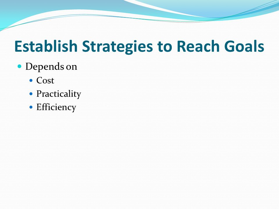 Establish Strategies to Reach Goals Depends on Cost Practicality Efficiency