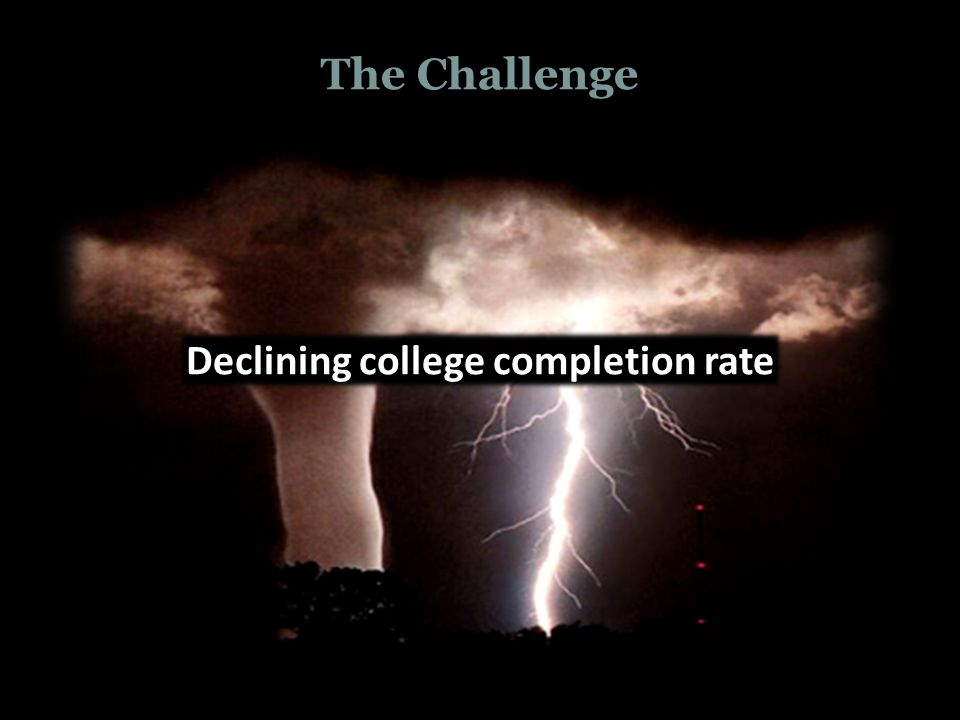 The Challenge Declining college completion rate The College Commission on Access, Admissions, and Success in Higher Education
