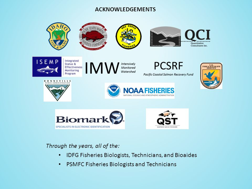 Through the years, all of the: IDFG Fisheries Biologists, Technicians, and Bioaides PSMFC Fisheries Biologists and Technicians ACKNOWLEDGEMENTS