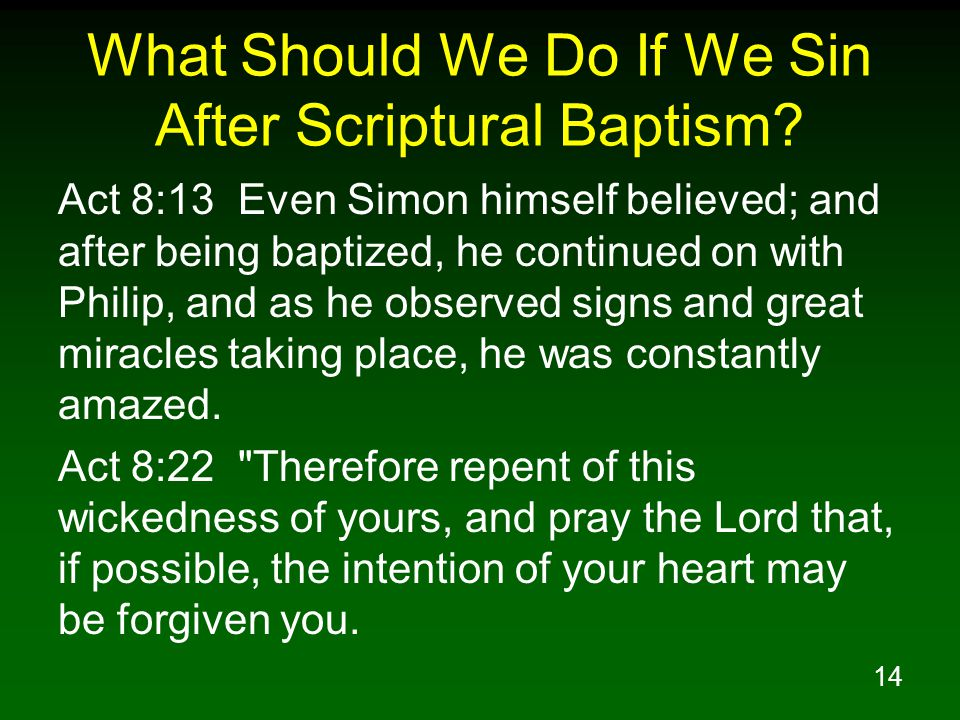 14 What Should We Do If We Sin After Scriptural Baptism.