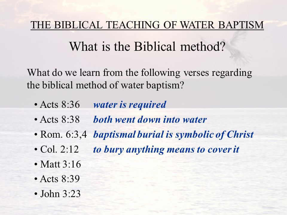 What Water Baptism Is Not Circle The Options That Best Describe