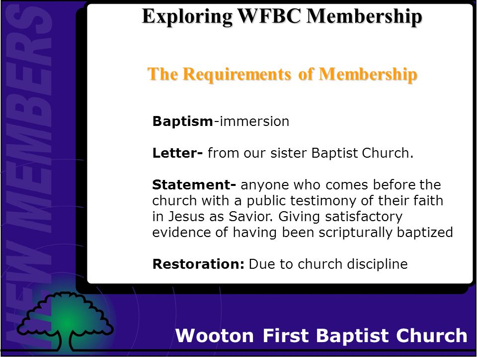 Wooton First Baptist Church Exploring Church Membership