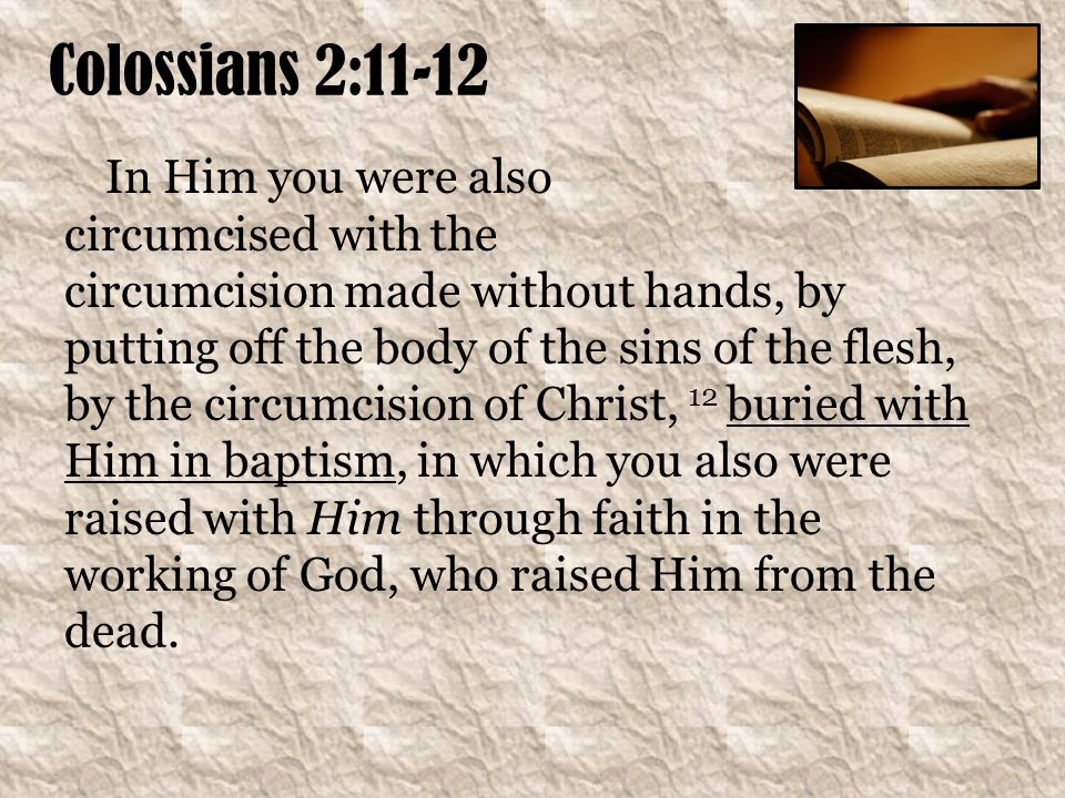 Colossians 2:11-12 In Him you were also circumcised with the circumcision made without hands, by putting off the body of the sins of the flesh, by the circumcision of Christ, 12 buried with Him in baptism, in which you also were raised with Him through faith in the working of God, who raised Him from the dead.
