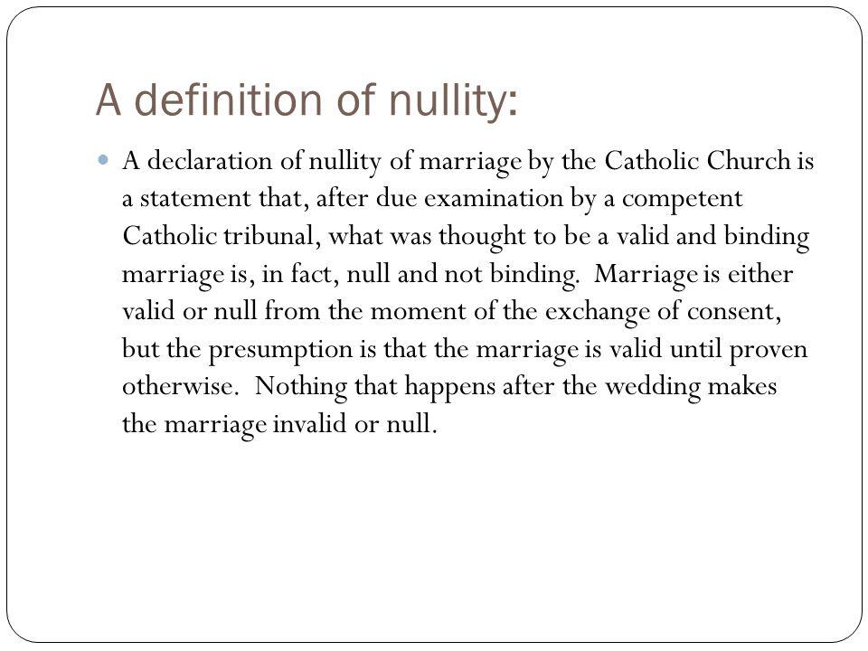 Annulment definition catholic