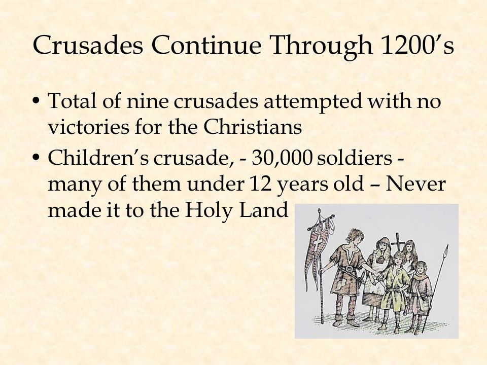 Crusades Continue Through 1200's Total of nine crusades attempted with no victories for the Christians Children's crusade, - 30,000 soldiers - many of them under 12 years old – Never made it to the Holy Land