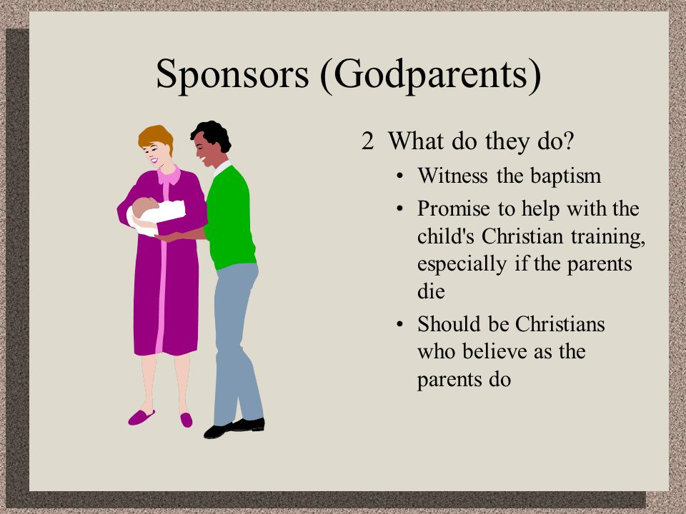 Sponsors (Godparents) 2What do they do.