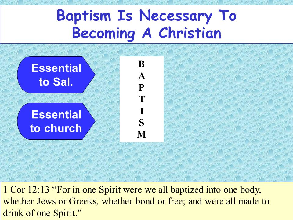 Baptism Is Necessary To Becoming A Christian Essential to Sal.