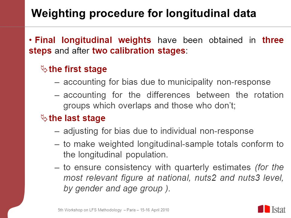 5th Workshop on LFS Methodology – Paris – April 2010 Weighting procedure for longitudinal data Final longitudinal weights have been obtained in three steps and after two calibration stages:  the first stage –accounting for bias due to municipality non-response –accounting for the differences between the rotation groups which overlaps and those who don't;  the last stage –adjusting for bias due to individual non-response –to make weighted longitudinal-sample totals conform to the longitudinal population.