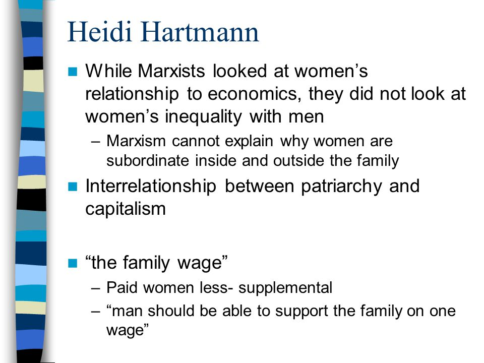 Heidi Hartmann While Marxists looked at women's relationship to economics, they did not look at women's inequality with men –Marxism cannot explain why women are subordinate inside and outside the family Interrelationship between patriarchy and capitalism the family wage –Paid women less- supplemental – man should be able to support the family on one wage