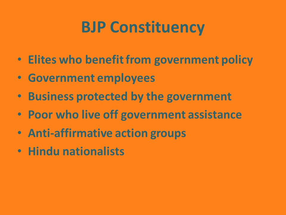 BJP Constituency Elites who benefit from government policy Government employees Business protected by the government Poor who live off government assistance Anti-affirmative action groups Hindu nationalists
